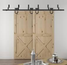 diyhd 5 5ft 10ft horseshoe byp sliding barn wood closet door rustic black barn door