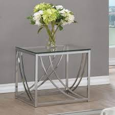 glass and chrome coffee table sets coaster furniture glass top end table with chrome base in 2019