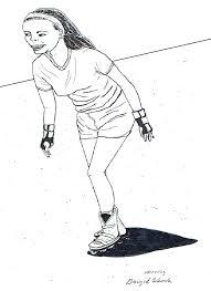 Pentekening Van Een Skeelerend Meisje Getekend Door Brigit Weeda