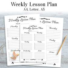 Weekly Lesson Plan Template Printable Simple Easy 1 Page Lesson Planner