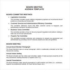 Sample Board Meeting Agenda Template 11 Free Documents In Pdf Word