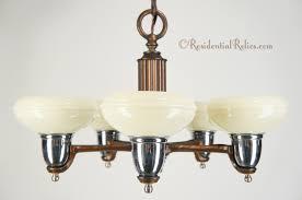 5 light deco chandelier with custard glass shades circa 1940s