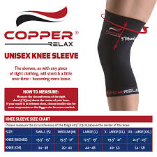 Knee Sleeve Size Chart Copper Relax Compression Knee Sleeve Best Original Non Slip Injury Recovery Performance Brace Joint Pains Relief Support Wear Anywhere Anytime