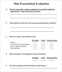 presentation survey examples sample presentation evaluation 6 documents in pdf