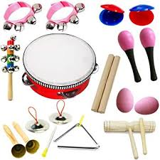 lebbeen 11pcs novelty kids roll drum al instruments band kit children toy baby