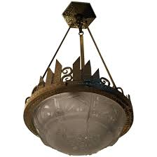 french art deco chandelier signed by and