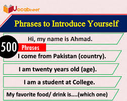 20 phrases to introduce yourself with urdu translation pdf how to introduce yourself in english