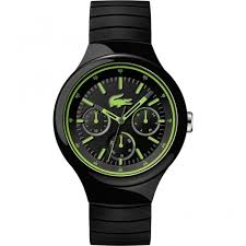 lacoste watches lacoste men s borneo black green chronograph lacoste men 039 s borneo black amp