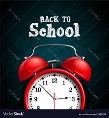 back to school design with red alarm clock on dark vector image