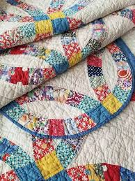 6458 best Antique Quilts Vintage Quilts FOR SALE see more at ... & Vintage 30s Wedding Ring QUILT Great Feedsack Prints 80