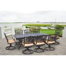 Amazon com hanover traddn9pcsw 8 traditions 9 piece dining set outdoor furniture bronze frame tan garden outdoor