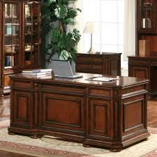 fascinating white office design with stained wood executive desk and bookcase cabinet featuring black leather chair and sofa