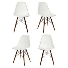 set of 4 dsw molded white plastic dining shell chair with dark walnut wood eiffel legs