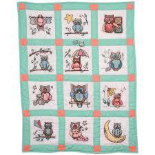 Owls Stamped Cross Stitch Baby Quilt Blocks 9
