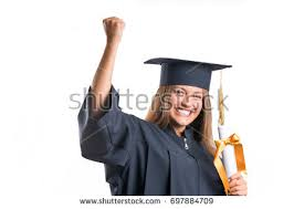 happy graduate student holding diploma isolated stock photo  happy graduate student holding a diploma isolated on white background