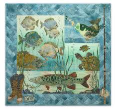 Something Fishy Complete Pattern Set & Full quilt image includes bass, pike, turtles, fishing boots, and a fishing Adamdwight.com