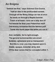 an enigma poem by edgar allan poe poem hunter