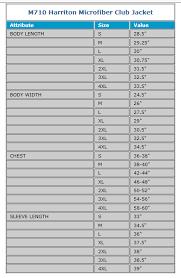 Harriton Size Chart Harriton Microfiber Club Jacket