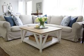 a modern diy coffee table in a living room