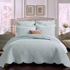 Sage Garden Quilt in Light Aqua, Solid Color Matelasse Bedding by ... & Sage Garden Quilt in Light Aqua, Solid Color Matelasse Bedding by Calla  Angel Adamdwight.com