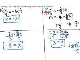 solving equations using multiplication and divisionrksheets math algebraic one step