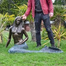 antique bronze mermaid garden sculpture