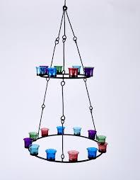 tea light chandelier double tier multi coloured glass by bell tent boutique
