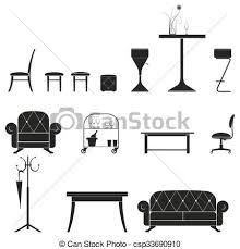 furniture set clipart black and white. vector - furniture silhouette set clipart black and white