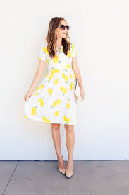 Fit And Flare Dress Pattern Interesting DIY FRIDAY Lemon Print Fabric Fit And Flare Dress Pattern