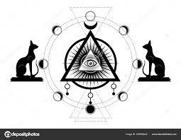 Mystické Výkresu Třetí Oko Vševidoucí Oko Kruh Fáze Měsíce