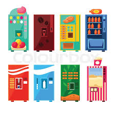 Vending Machine Designs Interesting Food And Drink Vending Machines Design Set In Primitive Bright
