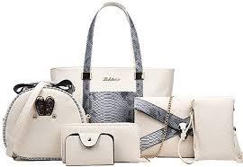 Zzfab 6 pcs Snake Skin Leather Bag Set Beige: Clothing - Amazon.com