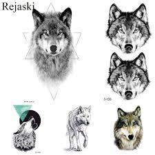 Rejaski сексуальная геометрическая прерия татуировка с изображением волка наклейки
