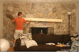 Remodelaholic | Installing A Wood Mantel On A Stone Wall