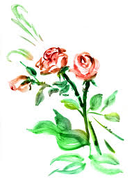 Roses Drawn Ink Style Sumie Stock Illustration 394043080 Shutterstock