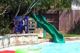 diy pool slide water into homemade inground rock