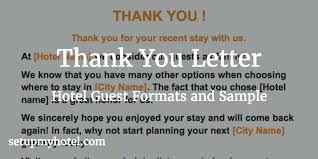Thank You Letter Departure Letter Format Send To Hotel Guests