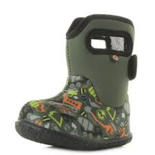 Details About Kids Baby Bogs Construction Green Multi Insulated Wellington Boots Shu Size