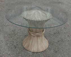 sold vintage mcguire round rattan dining table sheaf of wheat style with glass top