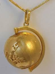 gold jewelry vintage globe earth