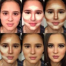 to do this contouring requires a base foundation as well as a bronzer or similar makeup that is one shade lighter than your natural skin colour and