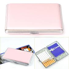 womens pink leather cigarette case box 100 s hold for 14 100mm cigarettes s