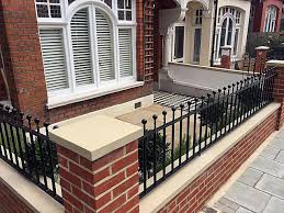Small Picture Front garden brick red wall metal gate rails planting Balham