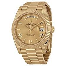 gold watches men rolex day date 18k yellow gold men s watch price 28 790 00 this rolex day date 40 automatic champagne dial 18k yellow gold men s watch has a 2 year warranty offered by amazon com provided by