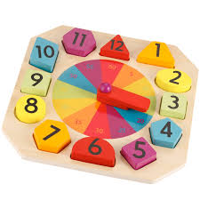 wooden clock and puzzle