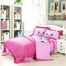 girls twin bedding sets bedroom decoration with embroidered cat pink children toddler