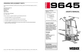 weider pro 455 user s manual manualzz
