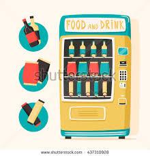 Vending Machine Cartoon Inspiration Vintage Vending Machine Food Drinks Retro Stock Vector Royalty Free