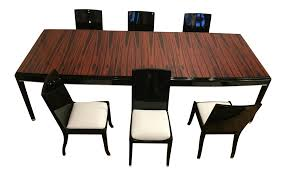 Black laquer furniture Chinese Macassar Ebony And Black Lacquer Table And Matching Chairs Striking Expandable Dining Set Chairish Chairish Macassar Ebony And Black Lacquer Table And Matching Chairs