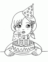 Small Picture Girl Blowing the Candles on the Birthday Cake coloring page for